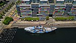 Aerial perspective of the Sea Shepherd docked at the Docklands, Feb 2019.jpg