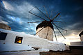 Against Greek skies, one of the Mykonos Island Windmills, Chora. Cyclades, Agean Sea, Greece.jpg