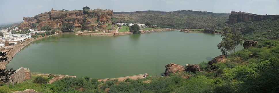 Panoramic view of Agastya lake, Badami.