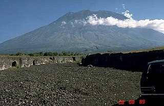 Mount Agung volcano in Bali in Indonesia