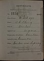 Ah Cheng Auckland Chinese poll tax certificate butts Certificate issued at Auckland.jpg