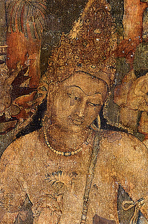 Cave paintings in India - Mural of Padmapani in Ajanta Caves. India, 5th century
