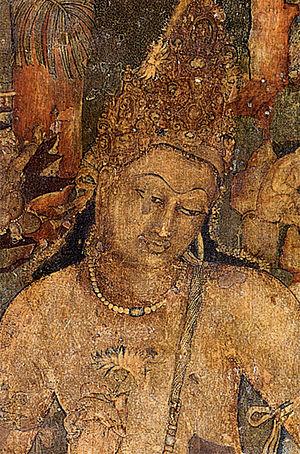 Bodhisattva - Mural of Padmapani in Ajanta Caves. India, 5th century