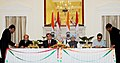 Ajay Maken and the Head of the Committee on Youth Affairs, Sport and Tourism, Tajikistan, Mr. Negmatov Maliksho signing the MoU between Tajikistan and India in the field of Sports, in the presence of the Prime Minister.jpg