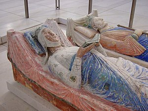 High Middle Ages - The painted effigies of Eleanor of Aquitaine and Henry II of England from the Fontevraud Abbey in Anjou, France, which no longer houses their remains