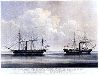 Battle of Nam Quan - HMS Rattler (right) and HMS Alecto in 1845.