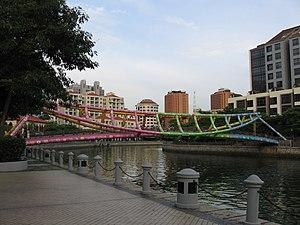 Tongkang - The steel truss of Alkaff Bridge, Singapore, is shaped roughly like the hull of a tongkang.