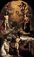 Alonso Sánchez Coello - St Sebastian between St Bernard and St Francis - WGA20723.jpg
