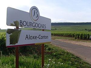 Aloxe-Corton - Sign and Vineyards