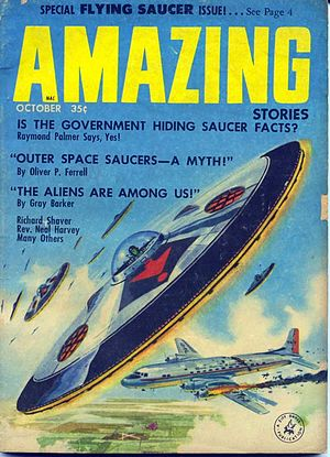 Flying saucer - October 1957 issue of Amazing Stories magazine devoted to flying saucers. The sightings starting in 1947 ignited an obsession with flying saucers that lasted a decade.