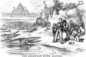 Orange Riots - An 1871 cartoon by Thomas Nast, protesting at the political power held by Irish Catholics in New York City; the crocodiles are dressed as Catholic bishops.