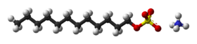 Ball-and-stick model of ammonium lauryl sulfate