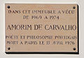 Amorim de Carvalho plaque - 52 rue Gay-Lussac, Paris 5.jpg