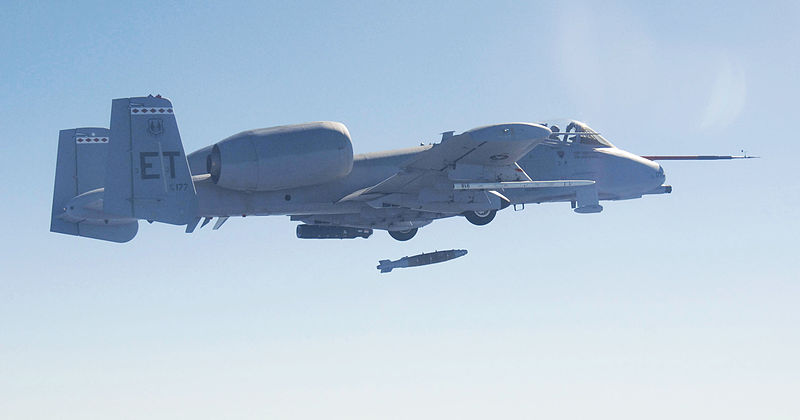 File:An A-10C Thunderbolt of the 40th Flight Test Squadron makes the first ever drop of a Laser Joint Direct Attack Munition, or LJDAM at Eglin AFB.jpg