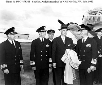 Lynde D. McCormick - As Commander in Chief, Atlantic Fleet (right), welcoming Secretary of the Navy Robert B. Anderson to Naval Air Station Norfolk, Virginia, February 21, 1953