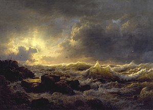 Düsseldorf school of painting - Clearing Up—Coast of Sicily, Andreas Achenbach, (1847).  The Walters Art Museum.