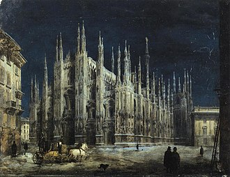 Angelo Inganni - Night on the Piazza del Duomo, 1850s.