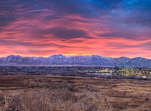 South Jordan, Utah - Looking west at a sunset over the Oquirrh Mountains, November 2009