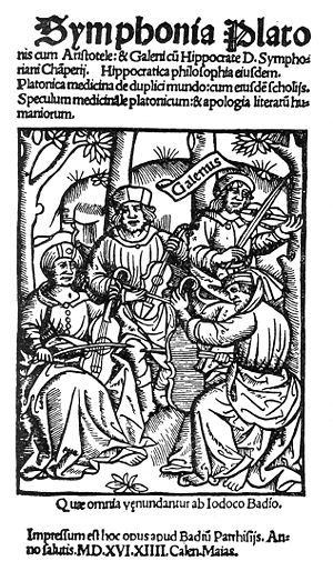 Chamber music - Plato, Aristotle, Hippocrates and Galen play a quartet on viols in this fanciful woodcut from 1516.