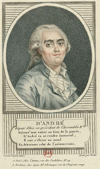 Antoine Balthazar Joachim d'André - Portrait as ex-President of the Assemblée nationale, stipple engraving, 1791