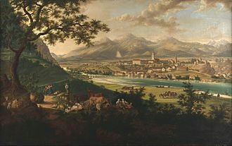 Kranj - Veduta of Kranj by Anton Hayne, 1st half of 19th c., National Museum of Slovenia