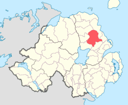 Location of Antrim Lower, County Antrim, Northern Ireland.