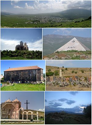 From top left: Aparan skyline with Mount Aragats to the rightBattle of Abaran memorial • Mausoleum of General DroKasagh Basilica • Alphabet park and Mkhitar Gosh statueAparan cross • Dusk over Aparan