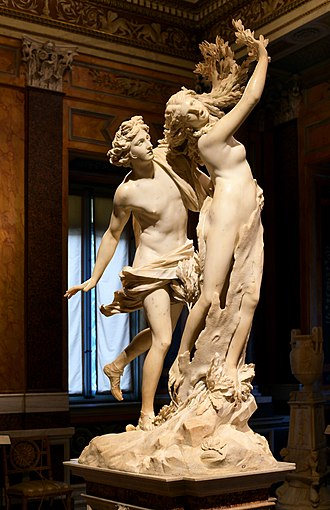 Daphne - Apollo and Daphne, a marble sculpture made 1622–1625 by Bernini (1598–1680), inspired by Ovid's Metamorphoses, Galleria Borghese, Rome. Depicting the initial stage of Daphne's transformation, with her fingers shown as branches of laurel and her toes taking root into the ground