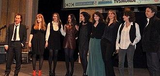 House of Tolerance - Members of the cast and producers at the 2012 Prix Lumières. Left to right: Bertrand Bonello, Iliana Zabeth, Pauline Jacquard, Maïa Sandoz, Judith Lou Lévy, Alice Barnole, Adèle Haenel, Noémie Lvovsky, unidentified.