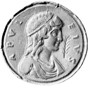 """Medaillon mit männlichem Porträt (Profil) und der umlaufenden Schrift """"Apuleius"""""""