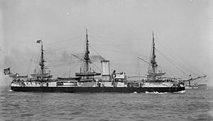 Brazilian battleship Aquidabã - Aquidabã off US coast, probably in 1893.