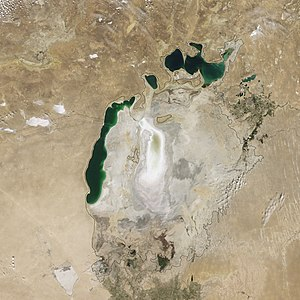 South Aral Sea - Image: Aral Sea Continues to Shrink, August 2009