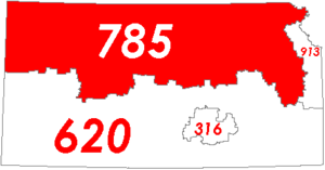 Area code 785 - Map of Kansas with area code 785 in Red