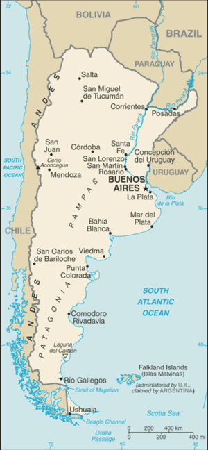 Water supply and sanitation in Argentina - Image: Argentina CIA WFB Map