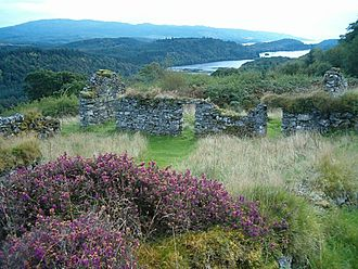 Township (Scotland) - Ruins of the township of Arichonan, forcibly cleared in 1848 as part of the Highland Clearances. Caol Scotnish can be seen in the middle distance with Loch Sween farther out.