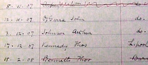 "Arthur Johnson (rugby league) - Extract from Widnes Playing Register for the 1907–08 season showing Arthur Johnson's entry along with his fellow future Great Britain tourist John ""Jack"" O'Garra"