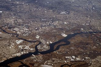 Arthur Kill - Aerial view of Arthur Kill, with the Rahway River joining from the left and Prall's Island visible near center.