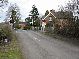 Ashford Bowdler - The level crossing, seen in 2010 (before the proposed upgrading)