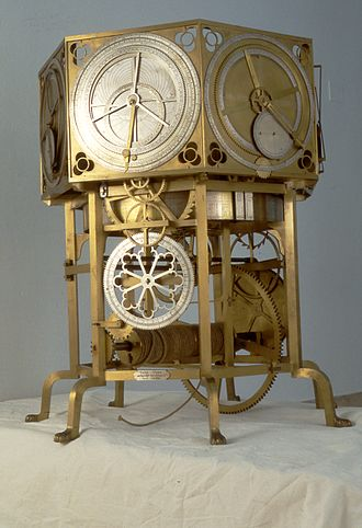 Astronomical clock - The astrarium made by the Italian astronomer and physician Giovanni Dondi dell'Orologio showed hour, year calendar, movement of the planets, Sun and Moon. Reconstruction, Museo nazionale della scienza e della tecnologia Leonardo da Vinci, Milan.
