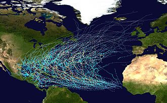 Tropical cyclone basins - Tracks of all tropical cyclones in the northern Atlantic Ocean between 1980 and 2005