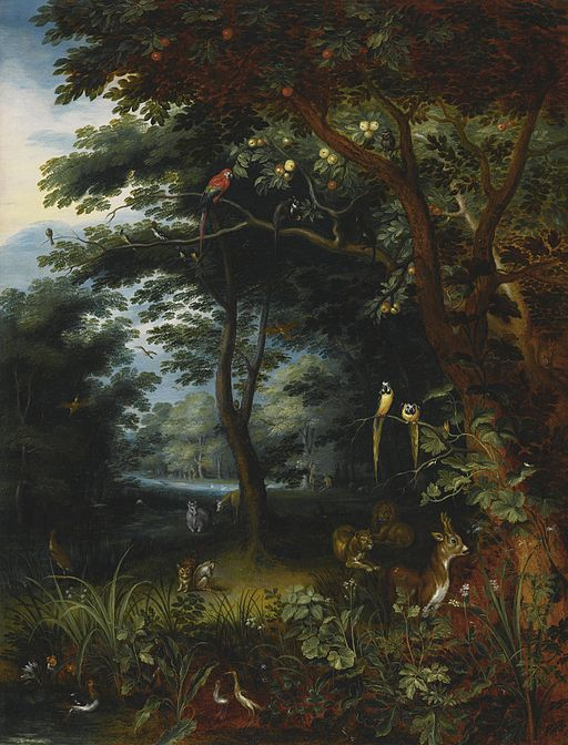 Attributed to Jan Breughel the Younger The Garden of Eden with two Depictions of Adam and Eve