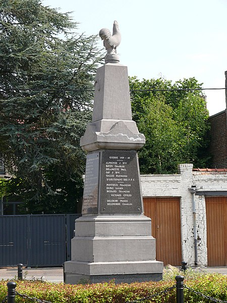 The war memorial of Aubigny-au-Bac (Nord, France).