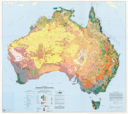 Major vegetation groups in Australia from the 2009 Atlas of Australian Resources Australia Present Vegetation Map.png