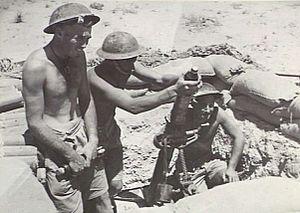 2/43rd Battalion (Australia) - Image: Australian 2 43rd Inf Bn mortar in 1942 (AWM image 024718)