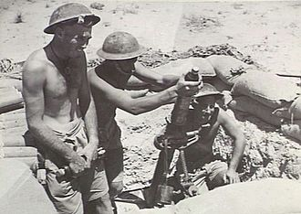 2/43rd Battalion (Australia) - Image: Australian 2 43rd Inf Bn mortar in 1942 (AWM image 024718)