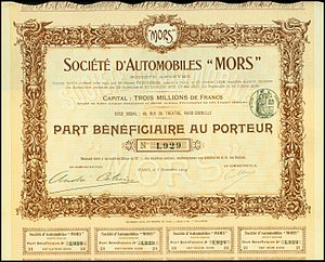 Mors (automobile) - Part Beneficiaire of the Société d'Automobiles Mors, issued 5. November 1909