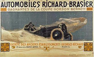 Richard-Brasier - Poster for Richard-Brasier automobiles by Henri Bellery-Desfontaines, 1905.