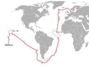 SMS Seeadler (1888) - Route of the SMS Seeadler and locations of ships engaged (1–2 North Atlantic, 3–11 Mid-Atlantic, 12–14 Pacific)