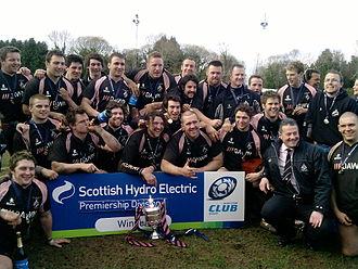 Ayr RFC - Ayr RFC celebrating winning the Premier League Trophy
