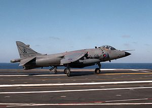 USS Dwight D. Eisenhower - A Sea Harrier of the Fleet Air Arm takes off from the deck of Eisenhower in 1984.